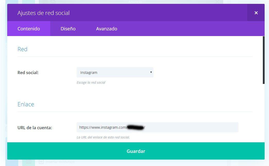 añadir iconos redes sociales a divi ajustes red social