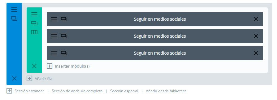 añadir iconos redes sociales a divi modulos en la fila