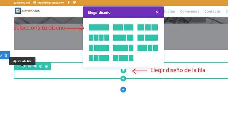 elegir el formato de las filas con el constructor visual divi